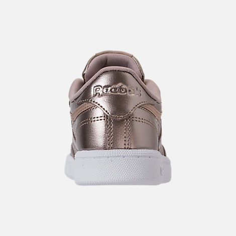 Back view of Girls' Preschool Reebok Club C Casual Shoes in Grey Gold/White
