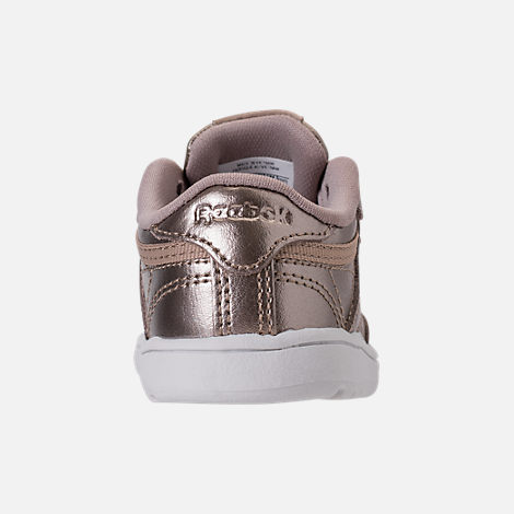 Back view of Girls' Toddler Reebok Club C Casual Shoes in Grey Gold/White