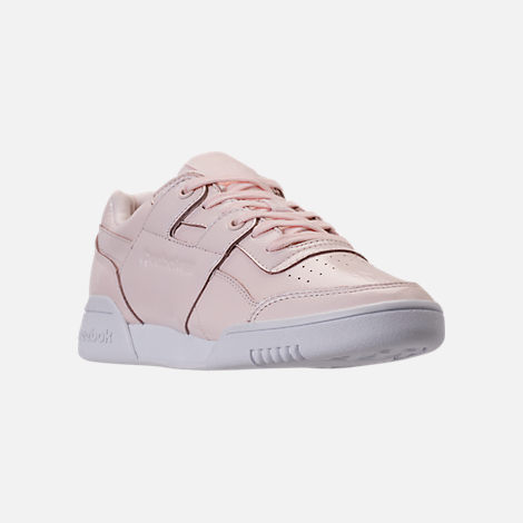 Three Quarter view of Women's Reebok Workout Plus Iridescent Casual Shoes in Sandstone/White
