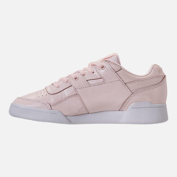 Left view of Women's Reebok Workout Plus Iridescent Casual Shoes in Sandstone/White