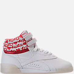 Girls' Grade School Reebok Freestyle Hi Hearts Casual Shoes