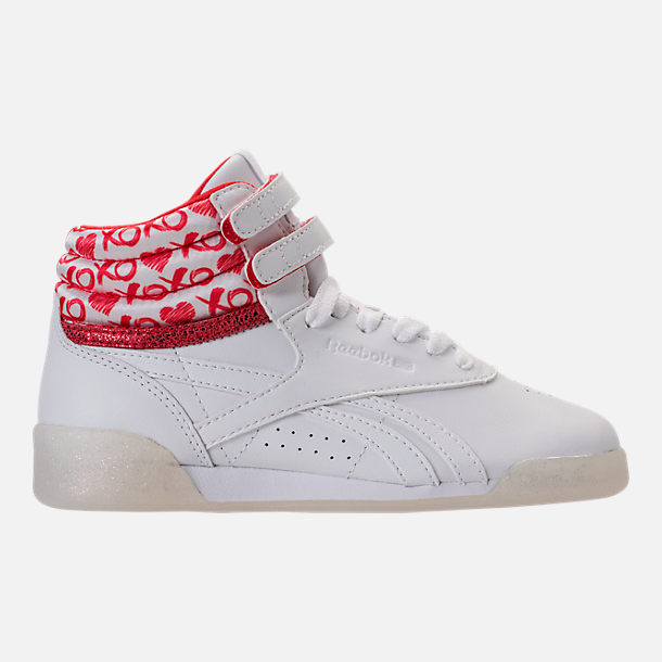 Right view of Girls' Grade School Reebok Freestyle Hi Hearts Casual Shoes in White/Red