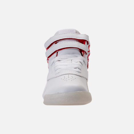 Front view of Girls' Grade School Reebok Freestyle Hi Hearts Casual Shoes in White/Red