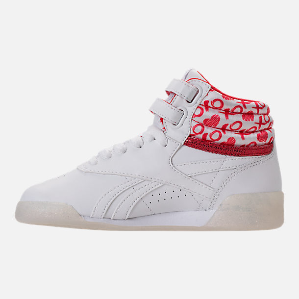 Left view of Girls' Grade School Reebok Freestyle Hi Hearts Casual Shoes in White/Red