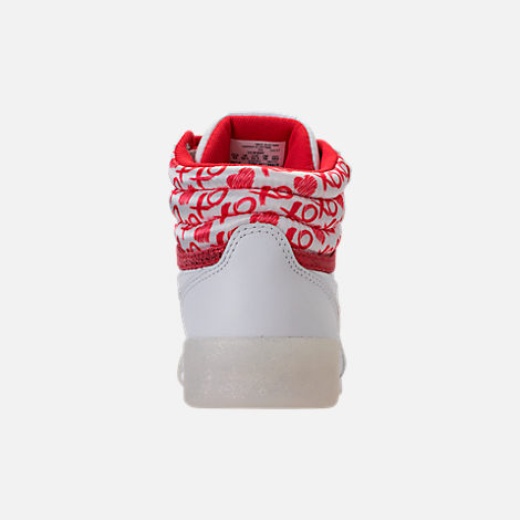 Back view of Girls' Grade School Reebok Freestyle Hi Hearts Casual Shoes in White/Red