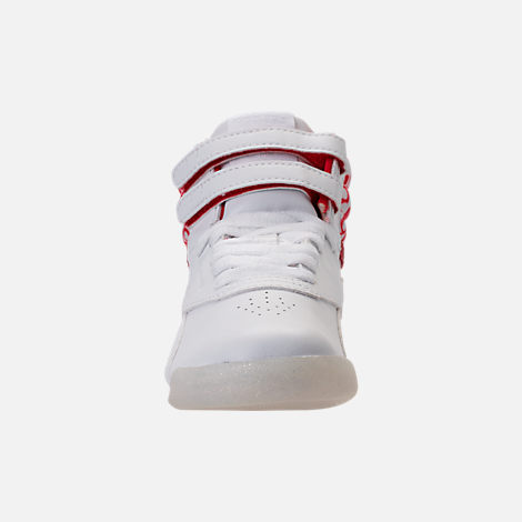 Front view of Girls' Preschool Reebok Freestyle Hi Hearts Casual Shoes in White/Red