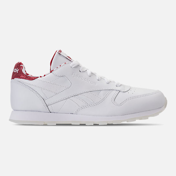 Right view of Girls' Grade School Reebok Classic Leather Hearts Casual Shoes in White/Red