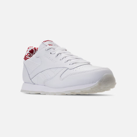 Three Quarter view of Girls' Grade School Reebok Classic Leather Hearts Casual Shoes in White/Red