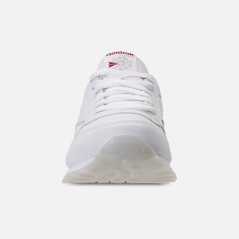 Front view of Girls' Grade School Reebok Classic Leather Hearts Casual Shoes in White/Red