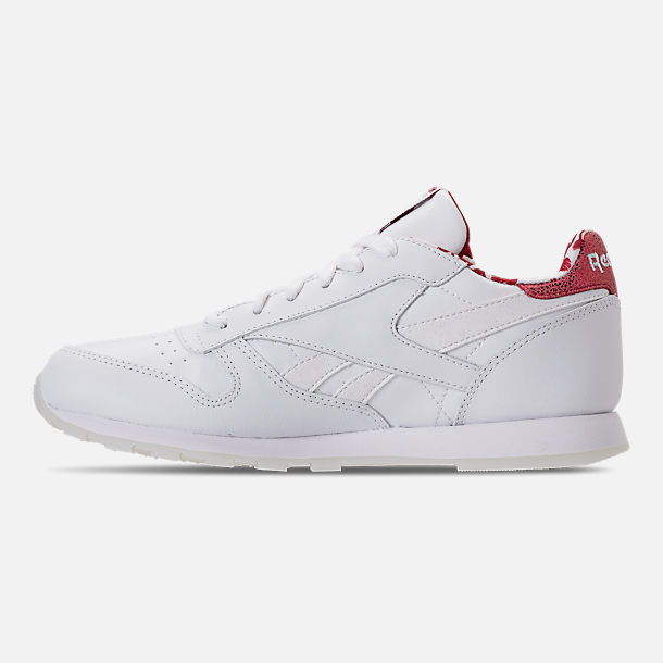 Left view of Girls' Grade School Reebok Classic Leather Hearts Casual Shoes in White/Red