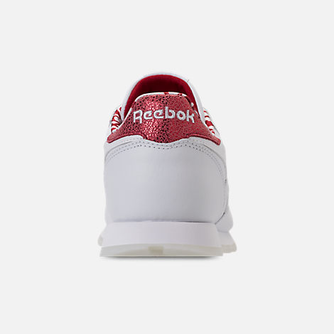 Back view of Girls' Grade School Reebok Classic Leather Hearts Casual Shoes in White/Red