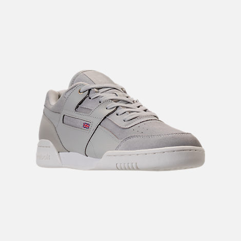 Three Quarter view of Men's Reebok Workout Plus MCC Casual Shoes in Marble/Chalk
