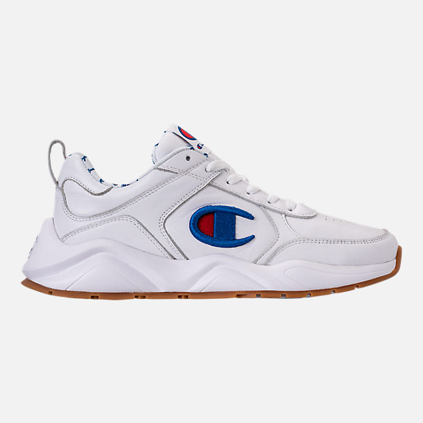 Right view of Men's Champion 93Eighteen Leather Embroidery Casual Shoes in White/Blue/Gum