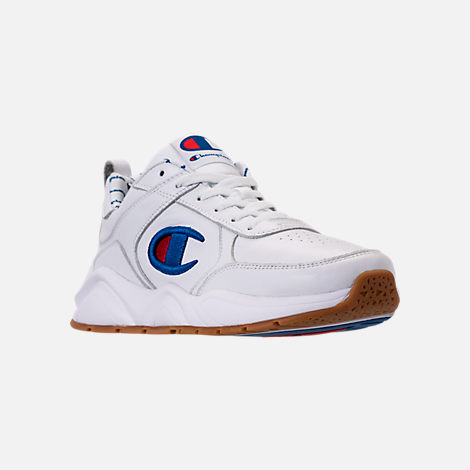 Three Quarter view of Men's Champion 93Eighteen Leather Embroidery Casual Shoes in White/Blue/Gum