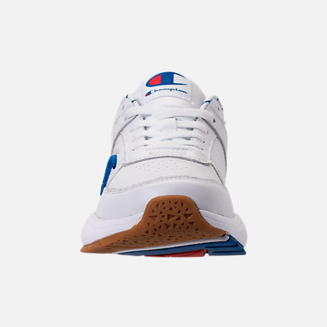 Front view of Men's Champion 93Eighteen Leather Embroidery Casual Shoes in White/Blue/Gum