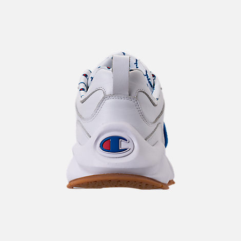 Back view of Men's Champion 93Eighteen Leather Embroidery Casual Shoes in White/Blue/Gum