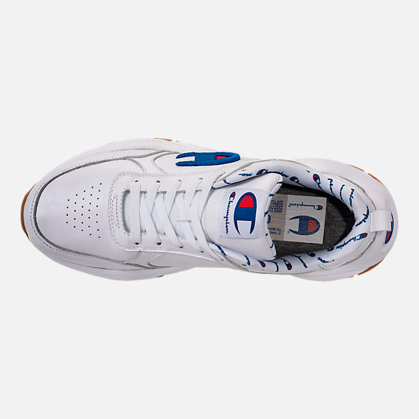 Top view of Men's Champion 93Eighteen Leather Embroidery Casual Shoes in White/Blue/Gum