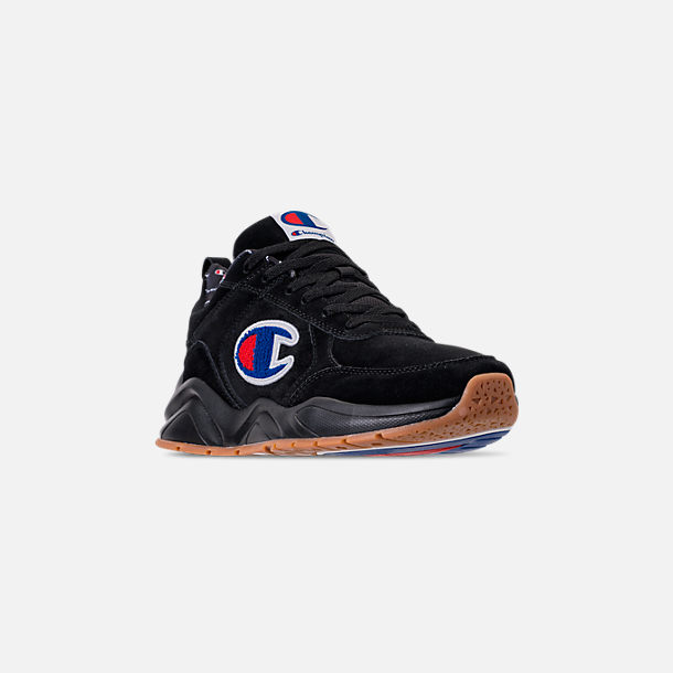 Three Quarter view of Men's Champion 93Eighteen Suede Chenille Casual Shoes in Black Mono (Colorway Exclusive to Finish Line)