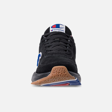 Front view of Men's Champion 93Eighteen Suede Chenille Casual Shoes in Black Mono (Colorway Exclusive to Finish Line)