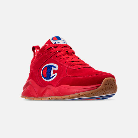 Three Quarter view of Men's Champion 93Eighteen Suede Chenille Casual Shoes in Red Mono (Colorway Exclusive to Finish Line)