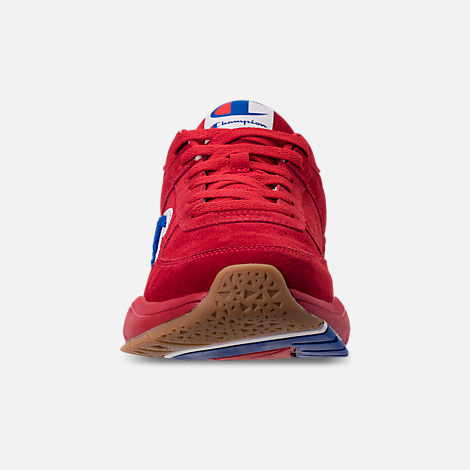 Front view of Men's Champion 93Eighteen Suede Chenille Casual Shoes in Red Mono (Colorway Exclusive to Finish Line)