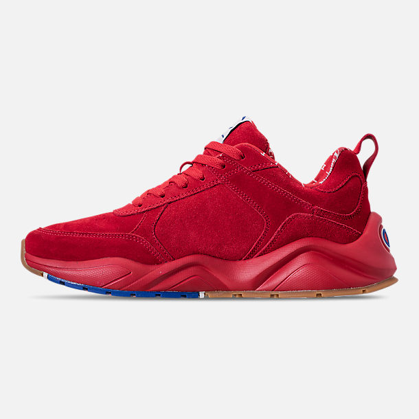 Left view of Men's Champion 93Eighteen Suede Chenille Casual Shoes in Red Mono (Colorway Exclusive to Finish Line)