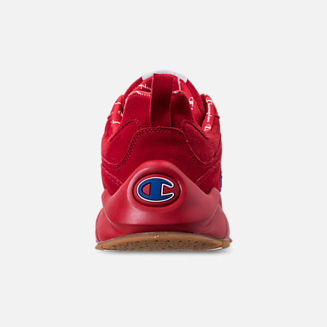Back view of Men's Champion 93Eighteen Suede Chenille Casual Shoes in Red Mono (Colorway Exclusive to Finish Line)
