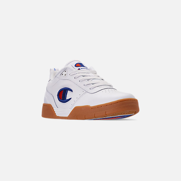 Three Quarter view of Men's Champion Court Classic Casual Shoes in White/Gum