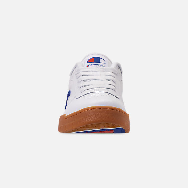 Front view of Men's Champion Court Classic Casual Shoes in White/Gum