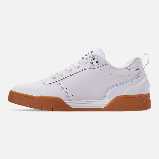 Left view of Men's Champion Court Classic Casual Shoes in White/Gum