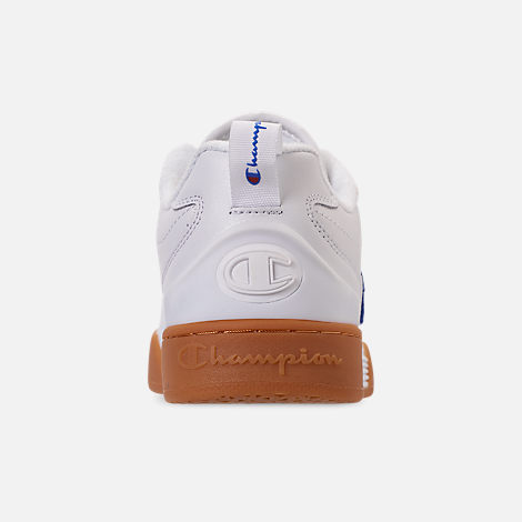 Back view of Men's Champion Court Classic Casual Shoes in White/Gum