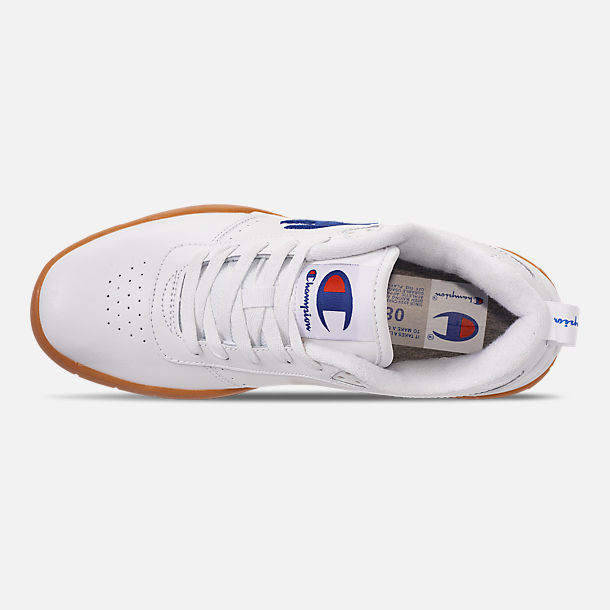 Top view of Men's Champion Court Classic Casual Shoes in White/Gum