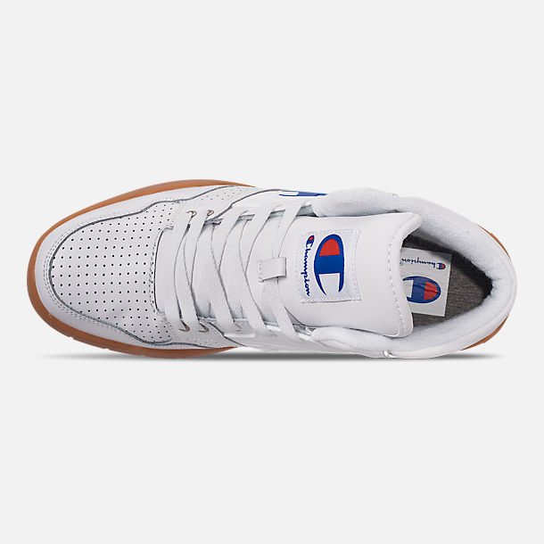 Top view of Men's Champion 3 on 3 Casual Shoes in White/Gum