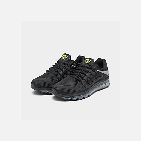 Three Quarter view of Men's Nike Air Max 2015 Running Shoes in Black/Volt/Wolf Grey