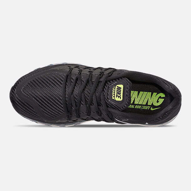 Top view of Men's Nike Air Max 2015 Running Shoes in Black/Volt/Wolf Grey