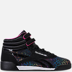 Girls' Grade School Reebok Freestyle Hi Rainbow Casual Shoes