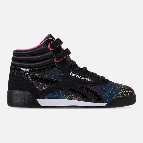 e614097daae Right view of Girls  Big Kids  Reebok Freestyle Hi Rainbow Casual Shoes