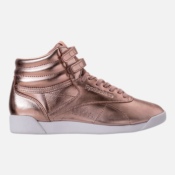 Right view of Women's Reebok Freestyle Hi Metallic Casual Shoes in Rose Gold/White/Silver Peony