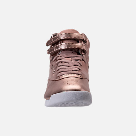 Front view of Women's Reebok Freestyle Hi Metallic Casual Shoes in Rose Gold/White/Silver Peony