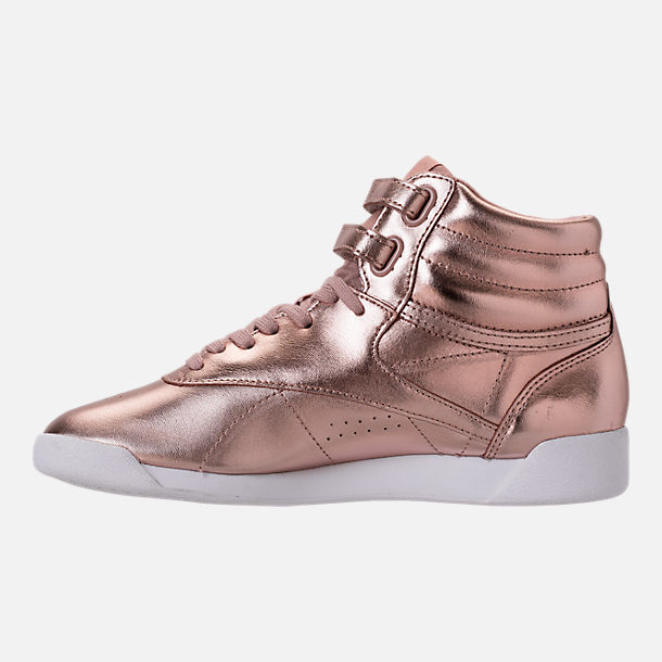 Left view of Women's Reebok Freestyle Hi Metallic Casual Shoes in Rose Gold/White/Silver Peony
