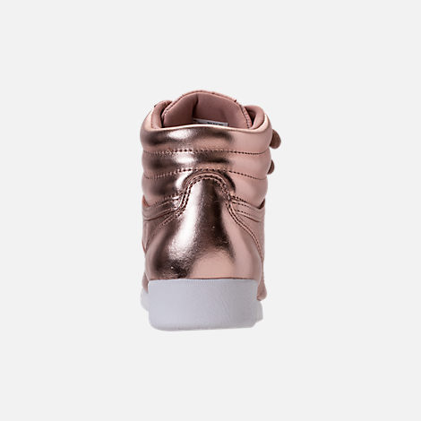 Back view of Women's Reebok Freestyle Hi Metallic Casual Shoes in Rose Gold/White/Silver Peony
