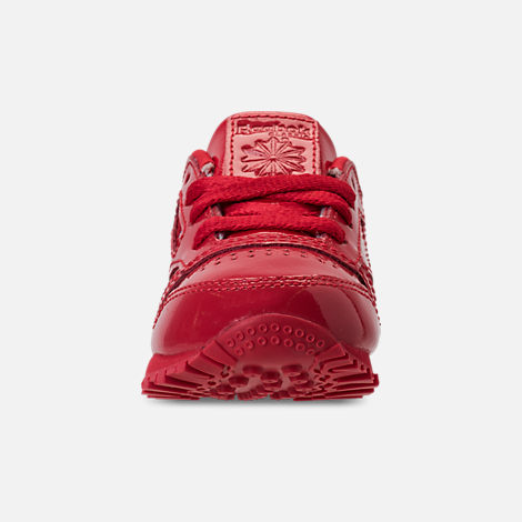 Front view of Girls' Toddler Reebok Classic Leather Casual Shoes in Red
