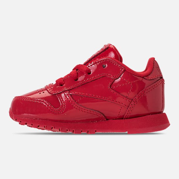 Left view of Girls' Toddler Reebok Classic Leather Casual Shoes in Red