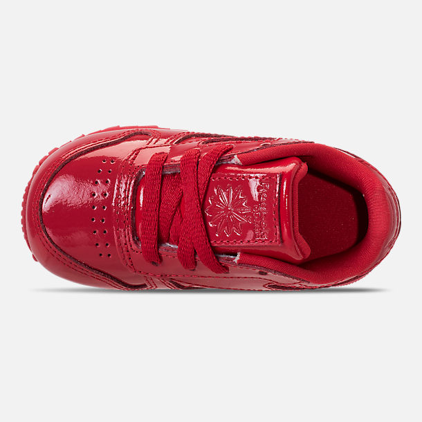 Top view of Girls' Toddler Reebok Classic Leather Casual Shoes in Red