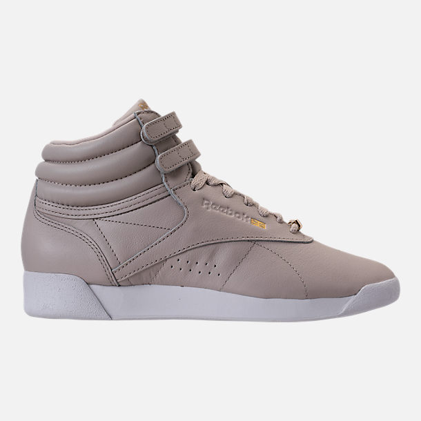 Right view of Women's Reebok Freestyle Hi Muted Casual Shoes in Sandstone/White