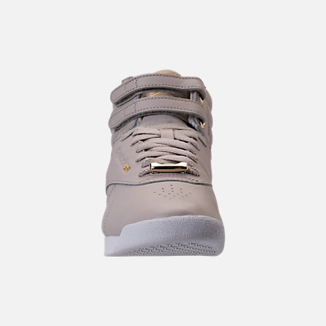 Front view of Women's Reebok Freestyle Hi Muted Casual Shoes in Sandstone/White