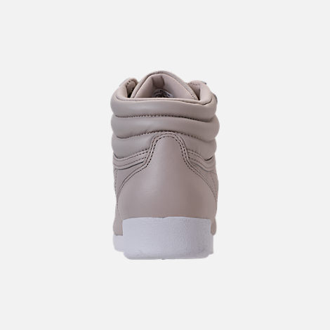 Back view of Women's Reebok Freestyle Hi Muted Casual Shoes in Sandstone/White