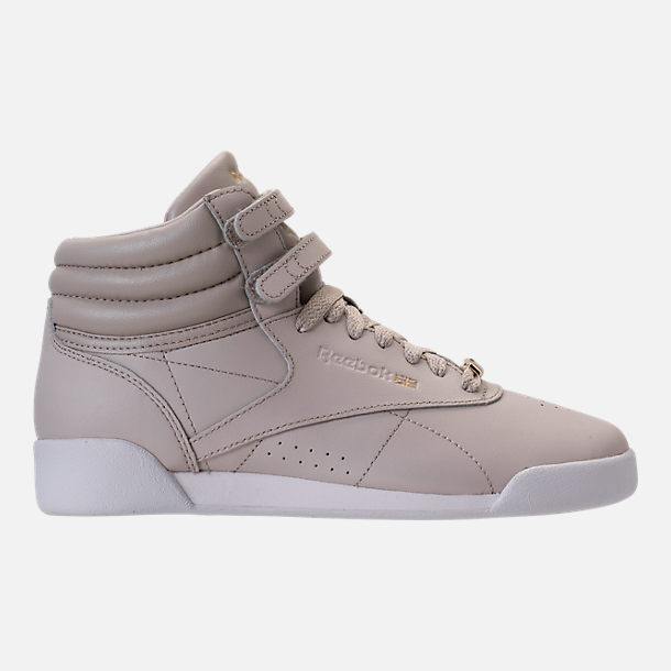 Right view of Girls' Grade School Reebok Freestyle Hi Muted Casual Shoes in Sandstone