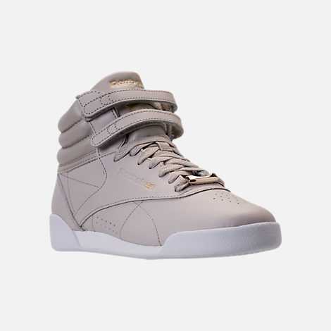 Three Quarter view of Girls' Grade School Reebok Freestyle Hi Muted Casual Shoes in Sandstone