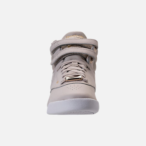 Front view of Girls' Grade School Reebok Freestyle Hi Muted Casual Shoes in Sandstone